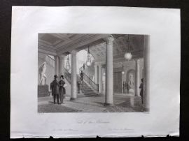 London Interiors 1841 Antique Print. Hall of the Athenaeum